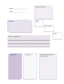 Vocabulary Word of the Day Graphic Organizer