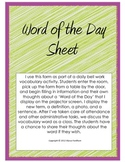 Vocabulary Word of the Day Sheet