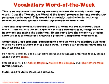 Vocabulary Word of the Week Organizer for Any Vocabulary Word