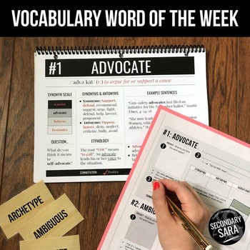 Vocabulary FULL YEAR Word of the Week for Secondary ELA: Vol. 1 of 2