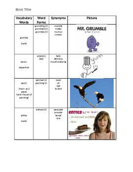 Vocabulary Words Activity