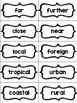 Vocabulary Words: Adjective Sort B&W