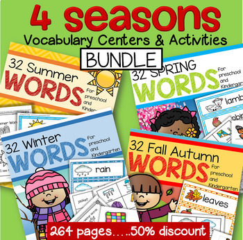 Vocabulary Words Centers & Group Activities BUNDLE Spring Fall Winter Summer