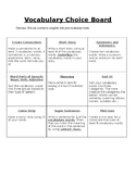 Vocabulary Words Choice Board