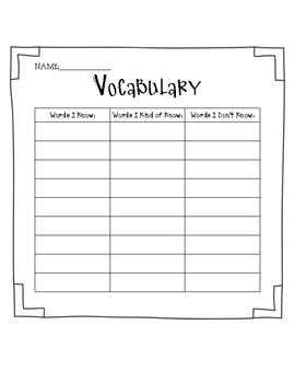 Vocabulary Words Organizer