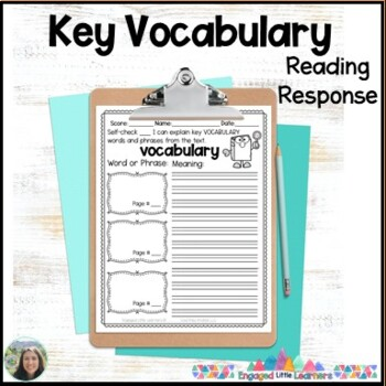 Vocabulary Words & Phrases Reading Response Graphic Organizer for Comprehension