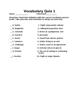 Vocabulary Words/Quizzes