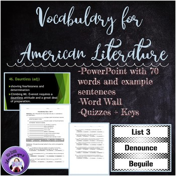 Vocabulary Words, Quizzes, and Word Wall for English 3 American Literature