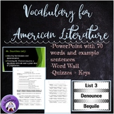 Vocabulary Words, Quizzes, and Word Wall for English 3 Ame