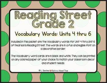 EDITABLE Vocabulary Words- Reading Street- 2nd Grade- Black and White