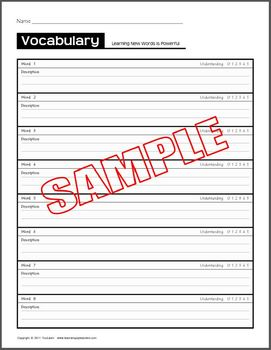 Vocabulary Words Test or Study Guide Paper (8 words)