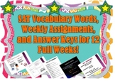 Vocabulary Words, Weekly Assignment, and Answer Key for 12