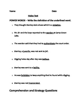 """Holes"" Vocabulary and End of Book Test"