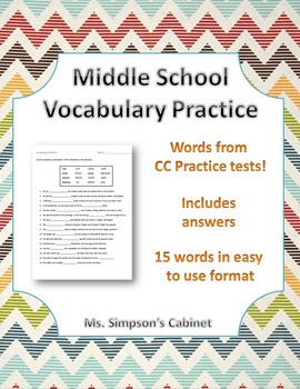 Vocabulary Words and Worksheet