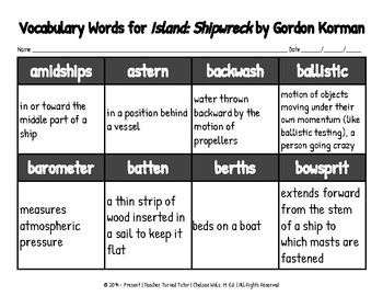 Vocabulary Words for Island: Shipwreck by Gordon Korman