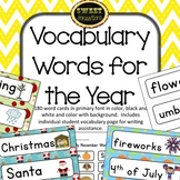 Seasonal Vocabulary Words | Word Wall Words for the Year