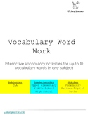 Vocabulary Work Digital Interactive Project