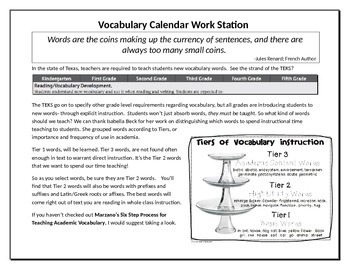 Vocabulary Work Station Calendar