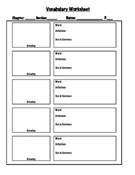 Vocabulary Worksheet: 5 words: Any Subject