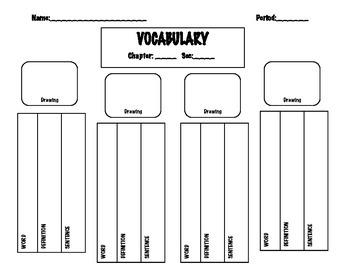 Vocabulary Worksheet: Any Subject