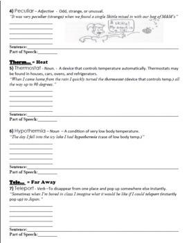 Vocabulary Worksheet Bundle: Week 1-11