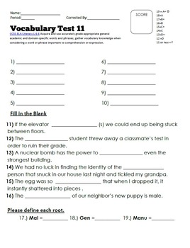 Vocabulary Worksheet Bundle: Week 11-22