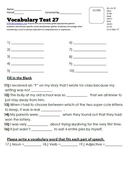 Vocabulary Worksheet Bundle: Week 22-34