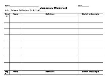 Vocabulary Worksheet Cells Unit