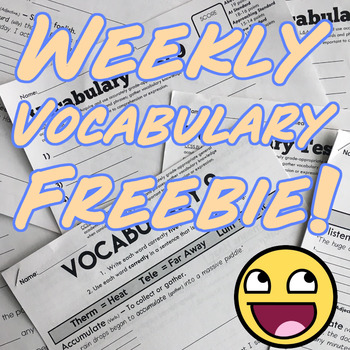 Vocabulary Worksheet Freebie Packets