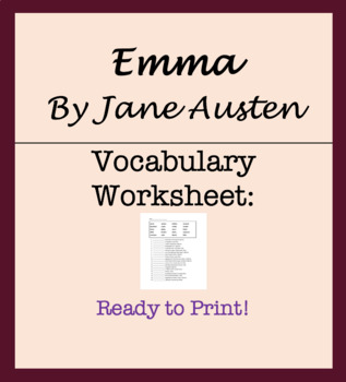 Vocabulary Worksheet - From Emma by Jane Austen