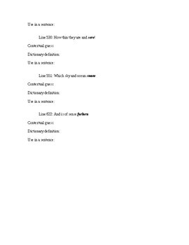 """Vocabulary Worksheet - From """"Rime of the Ancient Mariner"""" Coleridge"""