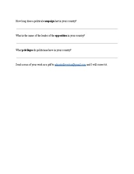 Vocabulary Worksheet-Government and Politics