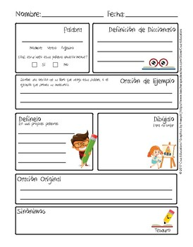 Vocabulary Worksheet / Hoja de Vocabulario PDF English / Spanish