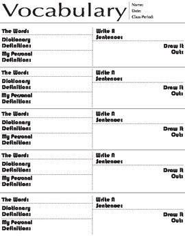 Vocabulary Worksheet, PDF, printable
