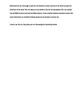 Vocabulary Worksheet (Science)