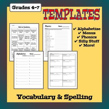 Vocabulary Worksheet Templates - Language, Phonics, and Writing