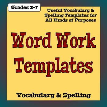 Vocabulary Worksheet Templates - Language, Phonics, and Writing