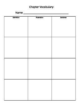 Vocabulary Worksheet Template