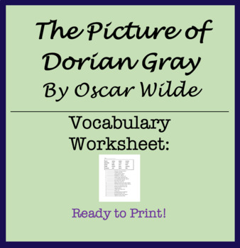 Vocabulary Worksheet - The Picture of Dorian Gray Oscar Wilde
