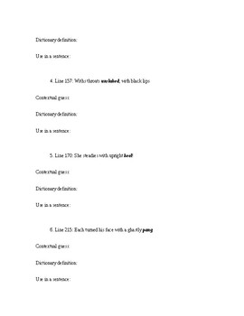 Vocabulary Worksheet - The Rime of the Ancient Mariner;Coleridge; Context Clues