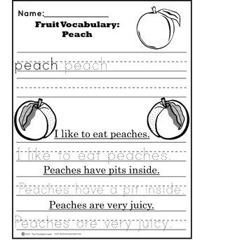 Vocabulary Worksheet Tracers: Fruit
