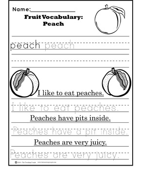 Vocabulary Worksheet Tracers: Fruit