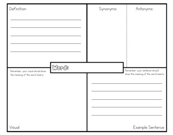 Vocabulary Worksheet: Visual, Definition, Example Sentence, Synonym, Antonym
