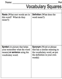 Vocabulary Worksheet - Vocabulary Squares