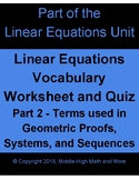 Vocabulary Worksheet and Quiz for Advanced Linear Equations (see word list)