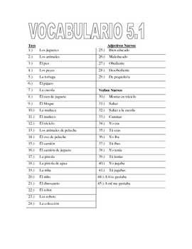 Vocabulary Worksheet for Paso a Paso 2 Chapter 5
