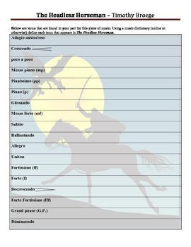 """Vocabulary Worksheet for """"The Headless Horseman"""" by Timothy Broege"""