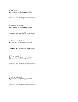 Vocabulary Worksheet for The Invention of Wings by Sue Monk Kidd