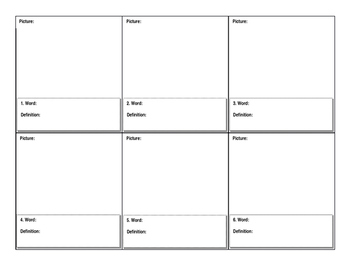 Vocabulary Worksheet - word, draw, define by Mrs Gill Minto ...