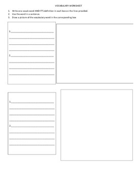 Vocabulary Worksheet/Packet Template